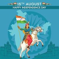 Independence Day greetings with Indian Queen Holding flag vector