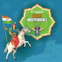 Independence Day wishes with Indian Queen on horse holding flag vector