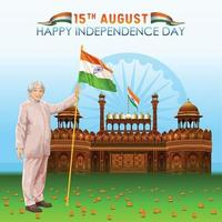 India Independence Day Greetings with a Master in Front of Red Fort vector
