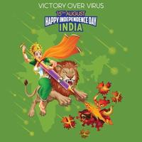 Independence day greetings like India destroyed Virus with Vaccine vector