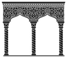 Silhouette of the arched eastern facade capitals vector