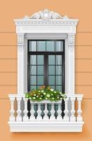 Classic balcony on the facade with a door vector