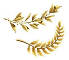 Golden laurel branch part of winner wreath vector