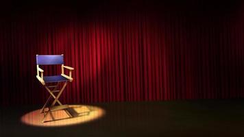 scène de rideau de théâtre avec siège de metteur en scène video