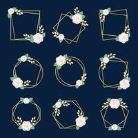 plantilla de diseño de marco floral vector