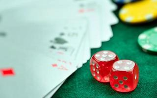 Red Dices Money Chips and Gambling Cards photo