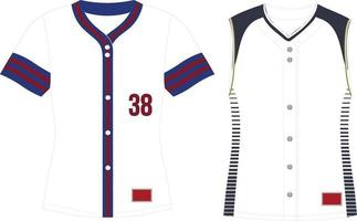 Full Button Softball Jersey Set In Sleeves vector