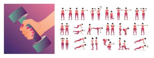 Dumbbell workout Set. Women doing fitness and yoga exercises. vector