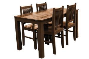 Juego de mesa de comedor de madera aislado. foto