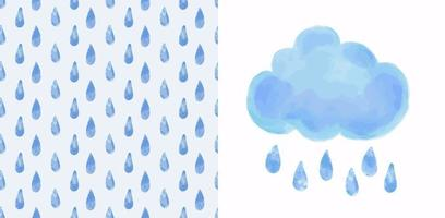 Set - vector blue watercolor cloud and seamless pattern with raindrops