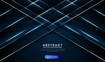 Geometric navy blue 3d abstract background with metallic lines effect vector