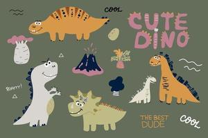 Cute dinosaurs set scandinavian style hand drawn vector
