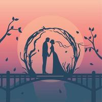 silhouette of romantic couple have engagement vector