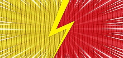 Comic VS background with yellow and red vector