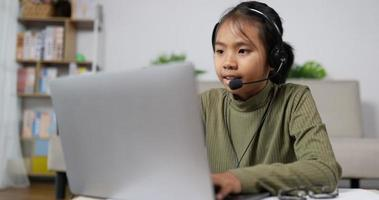 Kid Studying and Talking with Headset video