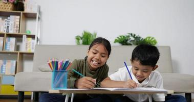 Sister and Brother Drawing on Paper Together video