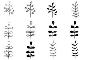 Set of Doodle Plant vector