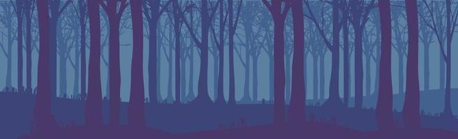 Panoramic landscape dark night dense forest - Vector