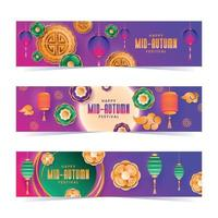 Gradient Mid Autumn Banners Collection vector