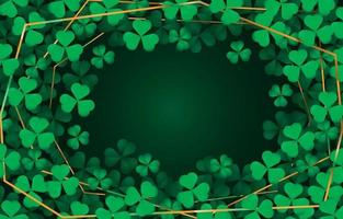 Green clovers scnery with gold wires vector