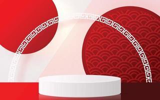 Podium round stage podium Chinese new year, Mid Autumn Festival. vector