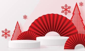 Christmas and New Year podium background design 3d. vector