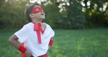 Hero Boy in Red Laugh in the Garden video