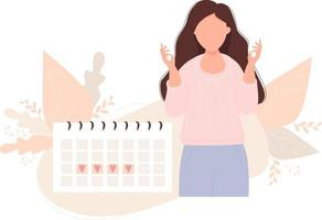 hermosa mujer cerca del ciclo menstrual del planificador de calendario femenino vector