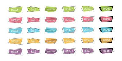 Set of geometric flat sale banners vector