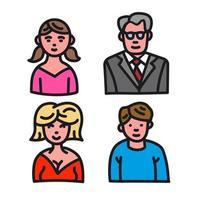 family avatars set vector