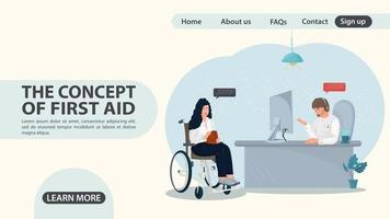 A girl in a wheelchair turns to the emergency room web page design vector