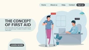 A man on crutches came to an appointment with a doctor web page design vector