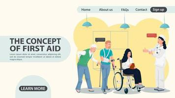Turn to the doctor for people with limb injuries web page design vector