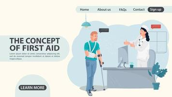 A man with a hand injury came to a doctors appointment a web page vector