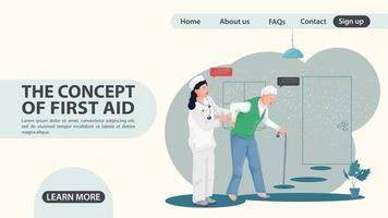 A nurse girl accompanies an old man web page design concept flat vector