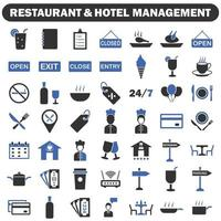 Restaurant and hotel management icons vector