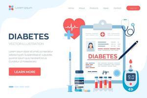 Medical diagnosis - Diabetes. Diabetes mellitus type 2 and insulin. vector