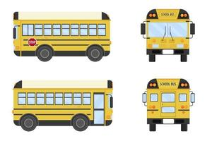 School bus front view, back view and two side views. vector
