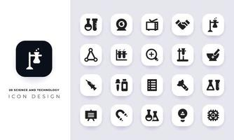 Minimal flat science and technology icon pack vector