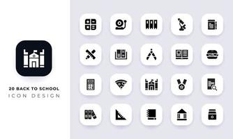 Minimal flat back to school icon pack. vector