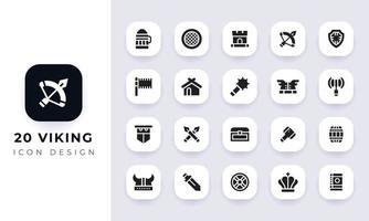 Minimal flat viking icon pack. vector