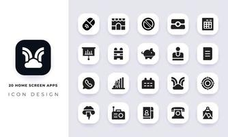 Minimal flat home screen icon pack. vector