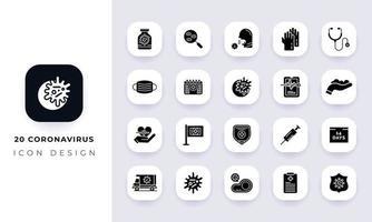 Minimal flat coronavirus icon pack. vector