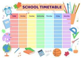 School timetable. Rainbow kid design of planner vector