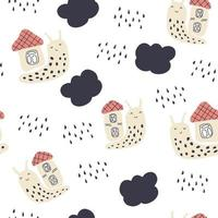 Hand drawn vector seamless pattern of snails and rainy clouds
