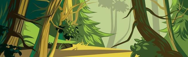 Panoramic realistic sunny dense mixed forest - Vector