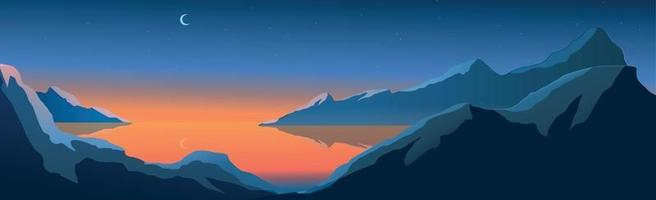 Mountain landscape, shining moon over night mountain lake - Vector