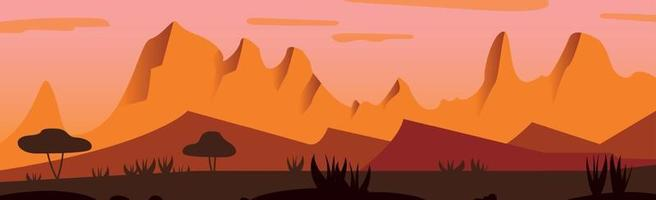 Panoramic landscape hot sunny savannah desert - Vector