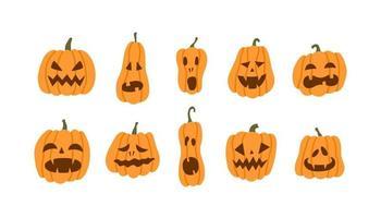 Set of halloween pumpkins terrible smile vector