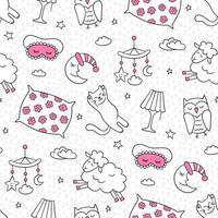 Sleep set in doodle style. Good night symbols vector